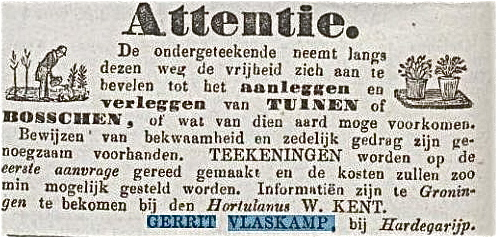 advertentie Vlaskamp in Groninger Courant 1 augustus 1854